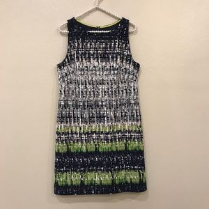 Vince Camuto Sheath Dress Size 12 Blue Green